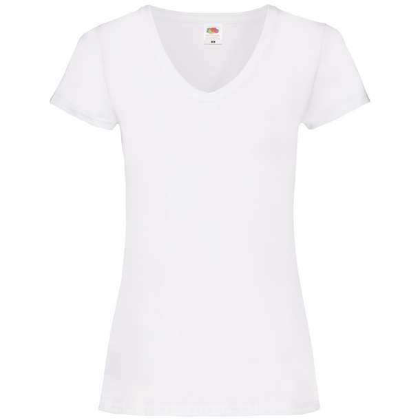 16.1398 F.O.L. - Lady-Fit Valueweight V-Neck T white 001