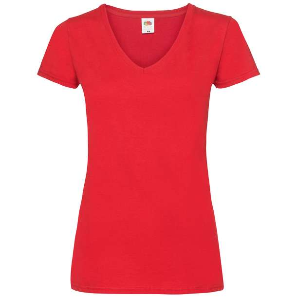 16.1398 F.O.L. - Lady-Fit Valueweight V-Neck T red 004