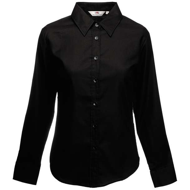 16.5002 F.O.L. - Lady-Fit Oxford Shirt LSL black 002